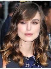 100% Human Hair Keira Knightley's Long Oblique Bangs Ombre Body Wave Wigs