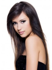 2014 Newest Submissive Long Nature Black Straight Side Bangs Hairstyle Lace Front Synthetic Wig About 24 Inches