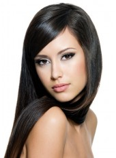 Custom Pure Black Submissive Straight Long Lace Front Synthetic Wig About 22 Inches