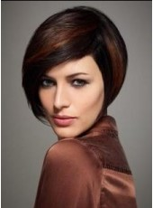 Top Quality Black Highlights Red Short Straight Venation Lace Front Synthetic Wig Avout 10 Inches
