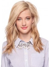 Impressive Blonde Wavy Long Side Bangs Hairstyle Lace Front Human Hair Wig About 20 Inches