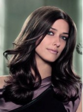 Fashion Trend Elegant Long Natural Black Wavy Hairstyle Lace Front  Wig About 22 Inches
