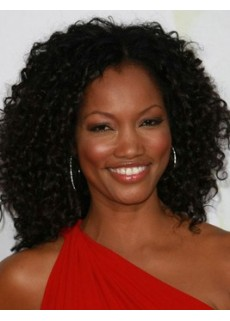 """Top Quality 18"""" African American Human Hair Long Midsplit Curly Lace Front Wigs For Black Women"""
