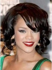 Lace Front Rihanna Medium Curly Bangs African American Human Hair Wigs For Black Women