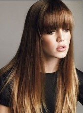 Custom 24 Inches Long Brown Silky Straight Regular Bangs 100% Human Hair Wigs