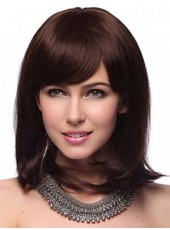 Charming New Medium Shoulder Dark Brown Straight Venation Synthetic Wigs
