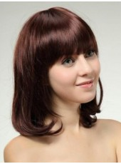 Sweetheart Medium Silky Straight Burgundy Natural Wave Full Bangs Synthetic Wigs