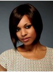 Impressive Bright Dark Brown Short Straight Oblique Bangs 100% Human Hair Wigs