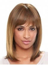 100% Human Hair Medium Shoulder Straight Regularity Bangs Wigs For Black Women