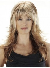Custom Elegant Long Loose Wave Mix Color Full Bangs Synthetic Top Quality Wigs