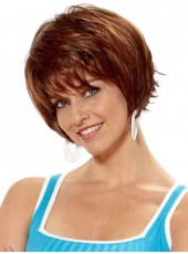 Custom Red Brown Short Straight Venation Bangs Hairstyle Synthetic Cheap Wigs