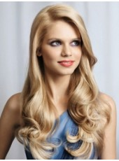 120% Density Indian Virgin Hair Long Deep Wave Blonde Soft Lace Front Prom Wigs