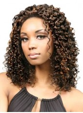 Custom Mix Color African American Hair Curly Hairstyle Lace Front Wigs For Black Women