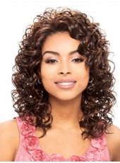 Dark Brown Heat Resistant Hair Long Curly Bangs Wigs For Black Women