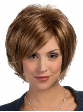 Impressive Polish Brown Short Side Bangs Venation Bob Hairstyle Capless Heat Resistant Hair Wig About 10 Inches