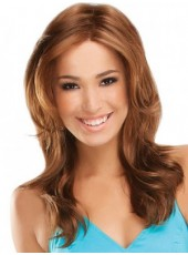 Impressive Glueless Lace Front Polish Brown Long Sexy Wavy Venation Hairstyle Heat Resistant Hair Wig About 20 Inches