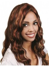 High Density Polish Dark Brown Elegant Long Wavy Hand Made Glueless Lace Front Wig About 24 Inches