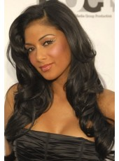120% African American Hair Density Attractive Natural Black Long Wavy Lace Front Wig About 24 Inches