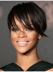 Celebrity Rihanna Natural Black Short Venation Straight Hairstyle Lace Front African American Human Hair Wig