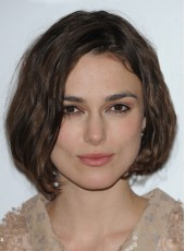 Attractive Submissive Human Hair Celebrity Keira Knightley Short Wavy Bouncy Hairstyle Swiss Lace Front Wig About 8 Inches