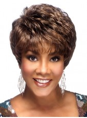 Fashion Trendy Celebrity Vivica Short Brown Wavy Bouncy Venation Hairstyle Capless Human Remy Hair Best Quality Wig
