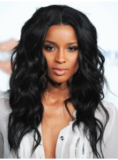 100% African American Natural Black Human Hair Long Charming Wavy Lace Front Top Quality Popular Wig About 22 Inches