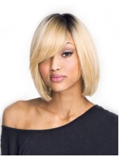 "100% Human Hair Mono Wig Capless Back Skin Top Blonde Hair With Dark Roots""Candice""  About 12 Inches"