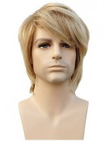 Handsome 100% Human Hair Capless Short Straight Platinum Blonde Man'S Wigs About 8 Inches