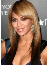 Beyonce Hairstyle Long Straight  Remy Human Hair Capless Wigs With Oblique Bangs
