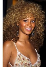 Beyonce Hairstyle  Small Curly Highlight  Human Hair Capless Wigs