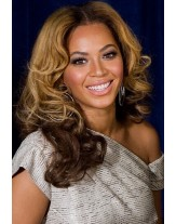 Beyonce Hairstyle  Wavy Highlight Color Full Lace Cap Human Hair Wigs