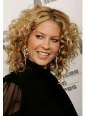 Elegant Medium Curly Hairstyle 100% Human Hair Full Lace Wigs About 14 Inches