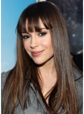 Charming Long Straight Hairstyle 100% Human Hair Capless Wigs With Full Bangs