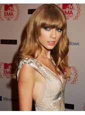 Elegant Taylor Swift Hairstyle Body Wavy Brown 100% Human Hair Wigs