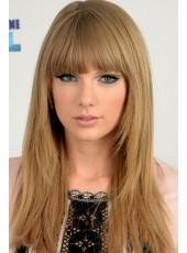 Top Quality  Taylor Swift  Straight Hairstyle Medium Brown Color Human Hair Wigs