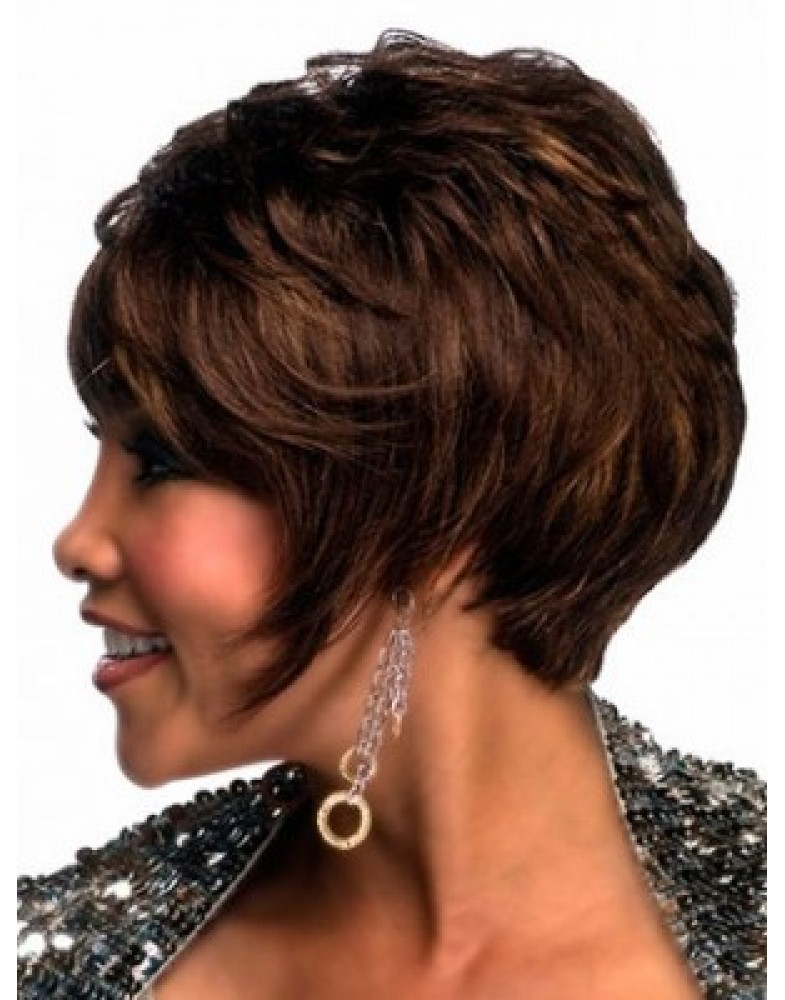 Chic Cut Short Wavy Celebrity Hairstyle 100% Human Hair Wigs About 8 Inches