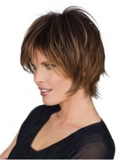 High Quality Short Brown 100% Human Hair Highlight Color Wigs