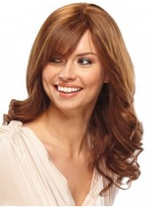 High Quality  Long Wavy  Brown Color  Human Hair Wigs About 22 Inches