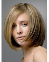Charming Straight Hairstyle Blonde Color 100% Human Hair Wigs About 12 Inches