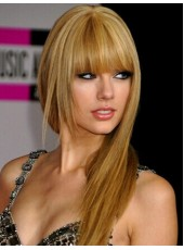 Tyler Hairstyle Long Straight Mix Color Capless Human Hair Wigs With Full Bangs For Beauty