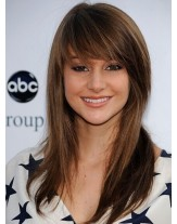 High Quality Brown Color Natural Straight Hairstyle Human Hair Wigs With Full Bangs