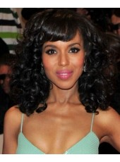 Kerry Washington Natural Black Curly Hairstyle 150% Density Capless Human Hair Wigs