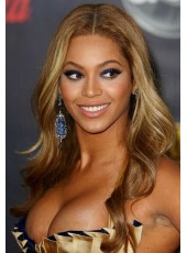 Celebrity Beyonce  Hairstyle Top Quality Full Lace Cap Mix Color Human Hair Wigs