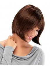 New Arrival Reddish Brown Short Straight Full Bangs 100% Human Hair Wigs