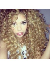 New Arrival Blonde Colour 150% Density Fuller Curly Haristyle Long Indian Virgin Hair Full Lace Wigs
