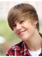 Justin Bieber Hairstyle High Quality 100% Human Real Hair Short Straight Brown Capless Wig 8 Inches