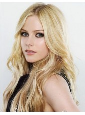 Charming And Elegant Long Wavy Blonde Hairstyle Lace Front 100% Human Hair Wig About 22 Inches