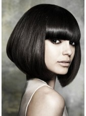 High Quality Short Straight Bob Capless Natural Black Wig 100% Human Hair Wig About 12 Inches