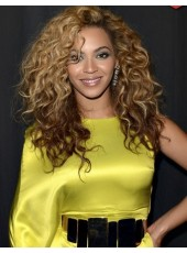 Amazing Beyonce Knowles' Hairstyle 100% Human Hair Lace Front Long Wavy Wig About 22 Inches