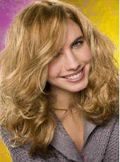 Attractive  Long Loose Wavy 100% Human Hair Lace Front Wig About 18 Inches